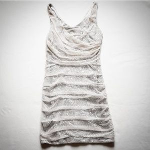 Express Silver Sequin W/ Nude Mesh Overlay Dress